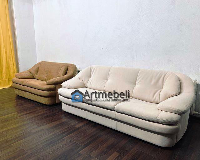 Перетяжка дивана белого и бежевого 1