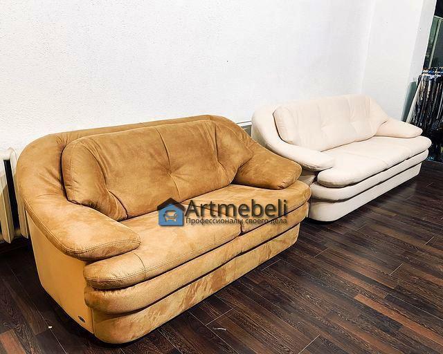 перетяжка бежевого дивана двойка